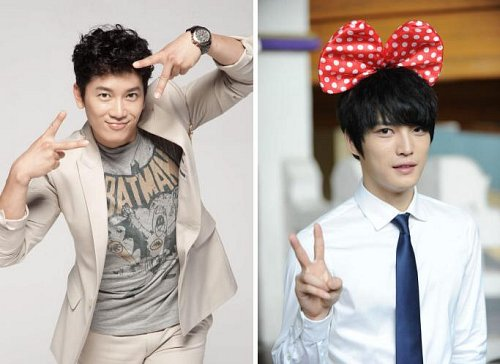 Ji Sung and Jae Jeong V Finger Sign