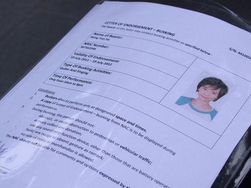 Felicia Chin Busker Permit