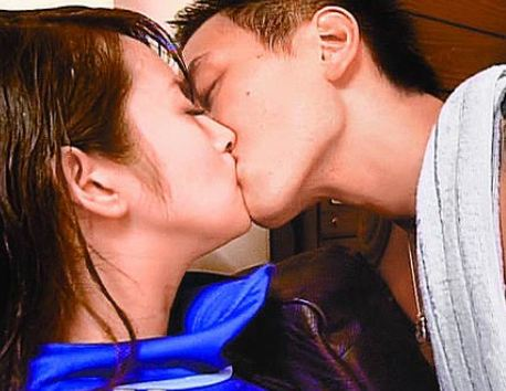 Ariel Lin Yi Chen and Sunny Wang Yang Ming Kissing