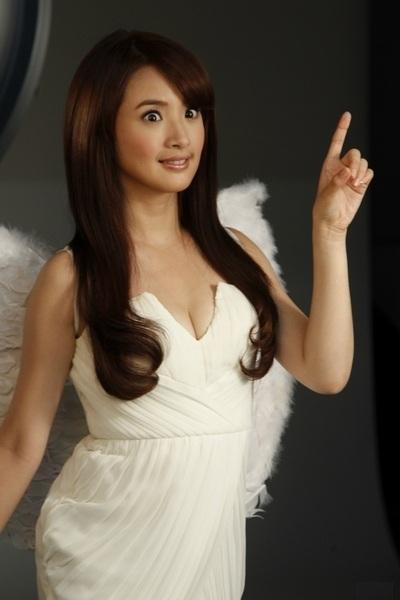 Ariel Lin in Angel Costume